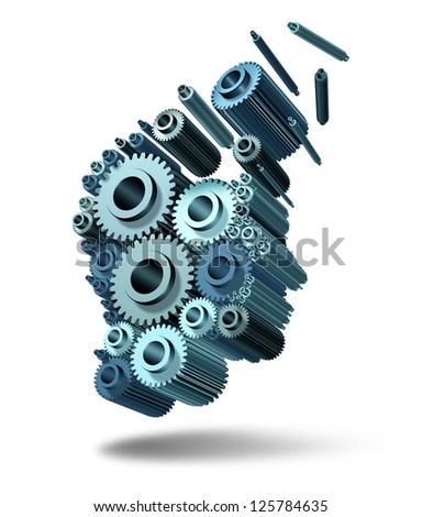 Losing Intelligence and brain loss of thoughts and function due to neurological trauma and head injury or alzheimer disease caused by aging with gears and cogs in the shape of a human thinking mind. - stock photo