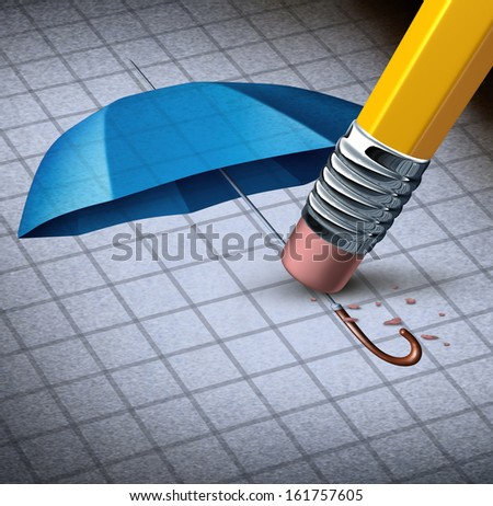 Losing protection business concept and health care security loss as an image of a blue umbrella being erased by a pencil eraser as a symbol of financial trouble and a metaphor for increased risk. - stock photo