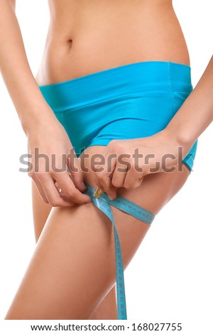 Losing weight and volume thigh of the female body - stock photo