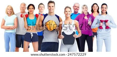 Losing weight people group. Fitness and diet concept.