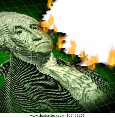 Losing your investment and financial debt crisis concept with a paper currency icon of George Washington and flames burning the paper as a symbol of declining wealth and finance despair. - stock photo