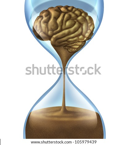 Losing your memory problems as a mental illness symbol of Dementia and Alzheimer's disease with an hour glass and time icon of sand shaped as a human brain as loss of intelligence function. - stock photo