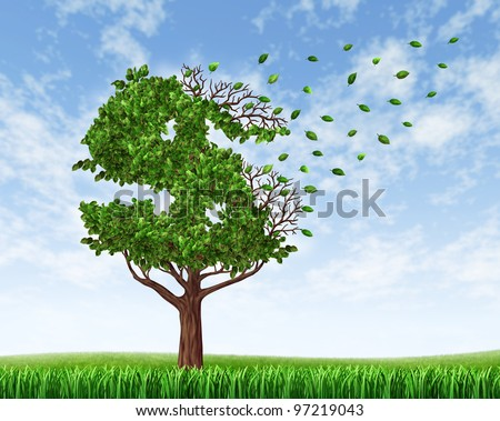 Losing your savings and managing your debt and financial budget with a green tree in the shape of a dollar sign with leaves falling off as an icon of wealth loss and downgrade. - stock photo