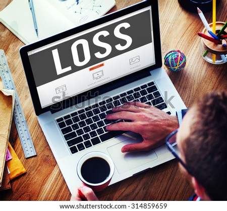 Loss Deduct Recession Debt Finance Bankruptcy Concept - stock photo
