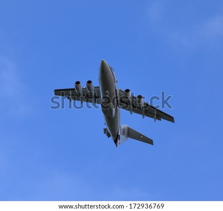 LOSSIEMOUTH, MORAY, SCOTLAND - JAN 22, 2014. This is a Royal Air Force ZE700 Plane having just taken off from it's base on a routine training flight.