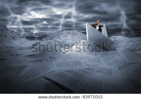 Lost alone businessman sailing in stormy papers sea - stock photo