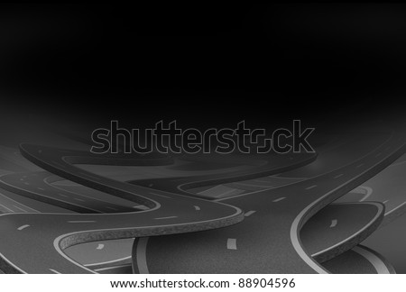 Lost and confused symbol in black fog as a dilemma and concept of losing control and strategic journey choosing the strategic path for business with tangled roads and highways in a confused direction. - stock photo