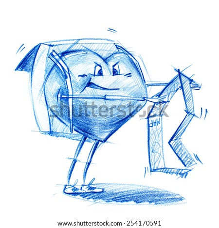 Lost Backpacker with Map. Set. Character Heart in Various Life Situations. Graphic illustration in Pencil Drawing - stock photo