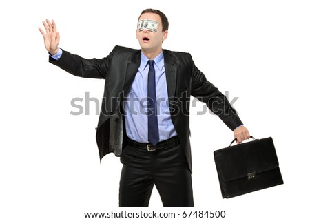 Lost blindfold businessman with a 100 dollar banknote on his eyes isolated on white background - stock photo