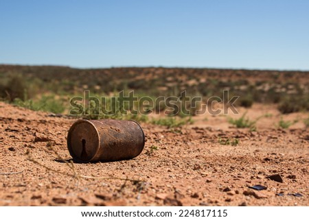 Lost can in the desert - stock photo