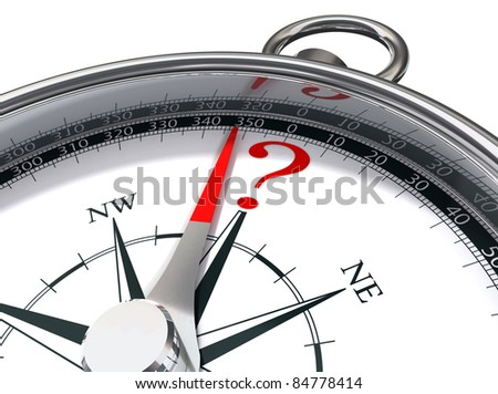 lost conceptual image with compass and question mark