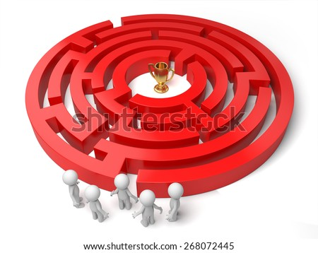 lost/3d people standing by a maze, a gold in the maze. 3d image. Isolated white background - stock photo
