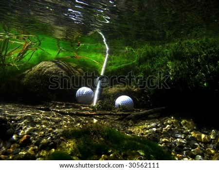 Lost golfs with broken pitching wedge. - stock photo