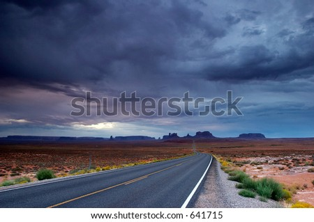 Lost highway during the storm. - stock photo