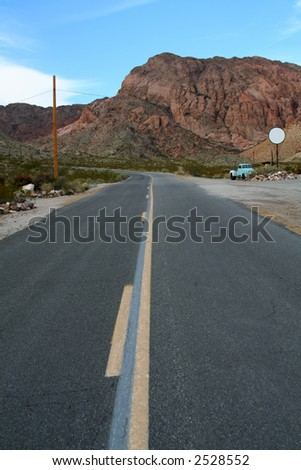 Lost Highway in the Desert - stock photo