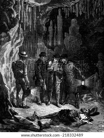 Lost hundred meters underground. The paper in question contained only a few lines, vintage engraved illustration. Journal des Voyages, Travel Journal, (1879-80).