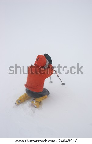 Lost in a snowstorm - stock photo
