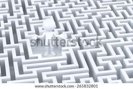 Lost in maze. 3d illustration - stock photo