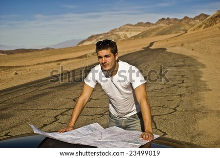 Lost in the desert - stock photo