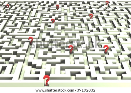Lost in the labyrinth of decisions - 3D image - stock photo