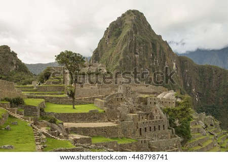 Lost Incan City of Machu Picchu and Wayna Picchu near Cusco in Peru. Peruvian Historical Sanctuary and UNESCO World Heritage Site Since 1983. One of the New Seven Wonders of the World - stock photo