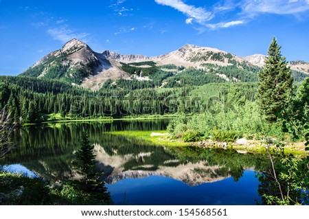 Lost Lake Slough and East Beckwith Mountain in Colorado near Kebler pass - stock photo