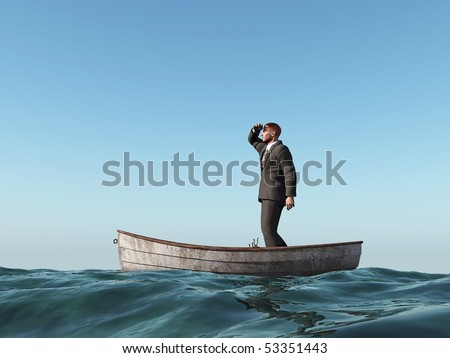 lost man in a boat - stock photo