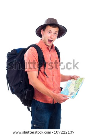 Lost man traveling with backpack and map, isolated on white background. - stock photo