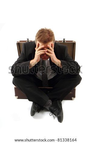 lost manager and his empty bag - stock photo