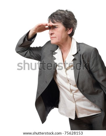 lost mature businesswoman searching isolated on white background