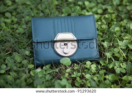 Lost wallet in green grass - stock photo