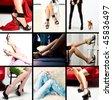 Lot of beautiful female legs - stock photo
