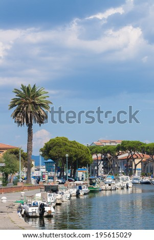Lot of boats at the pier in the mediterranean coast city