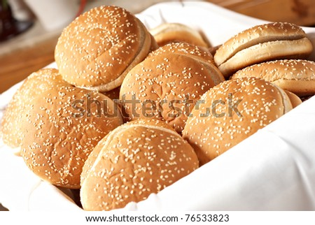 lot of burger in a basket - stock photo