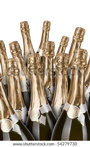 lot of champagne bottles on a white background - stock photo