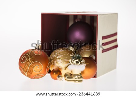 lot of christmas balls in the gift box on white background