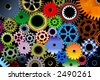 Lot of color mechanic gears and wheels 3d - stock photo