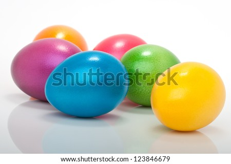 lot of colorful easter eggs isolated against white background - stock photo