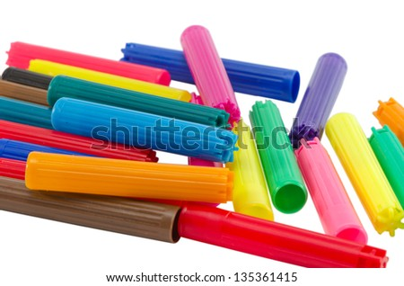 lot of colorful felt tip pen caps isolated on white background - stock photo