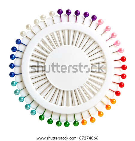 Lot of colorful pins isolated on a white background