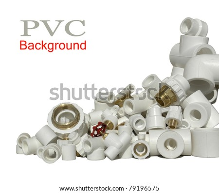 Lot of combined fittings for metal and PVC pipes - stock photo
