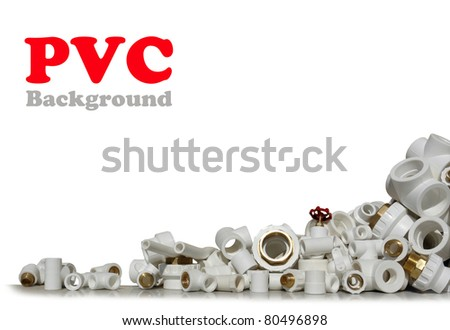 Lot of combined fittings for metal and PVC pipes. - stock photo
