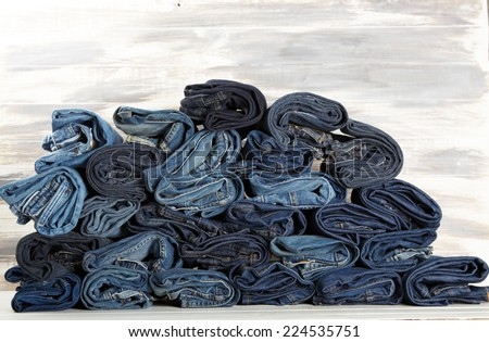 Lot of different blue jeans Blue Jeans - stock photo