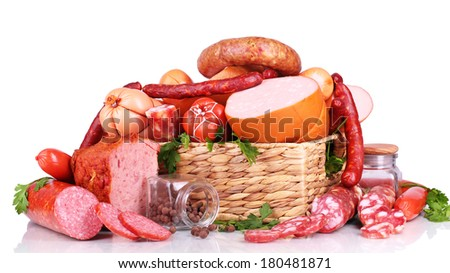 Lot of different sausages in basket isolated on white - stock photo