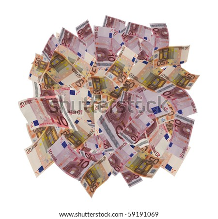 lot of euro banknote isolated on white - stock photo