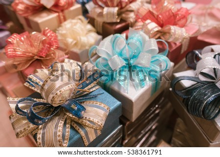 lot of Gift box and ribbon bow colorful background for celebration festival event new year party