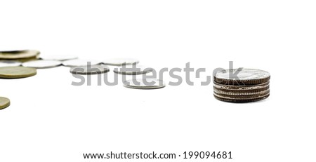lot of gold and silver coins thailand isolated on white background