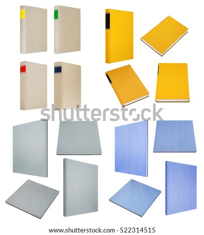 lot of grey yellow blue books isolated on white background