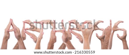 lot of hands form the word arthrosis - stock photo