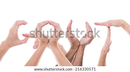 lot of hands form the word gout - stock photo